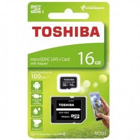 MICROSD 16GB TOSHIBA M203 UHS-1 CLASE 10 CON ADAPTADOR + LPI*