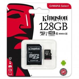 KINGSTON MICROSD 128GB (CLASE10 80 MB/S) CANVAS SELECT SDCS/128GB C/ADAPTADOR + LPI*