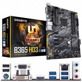 PLACA BASE GIGABYTE B365 HD3 S-1151 4DDR4 64GB VGA+DVI+HDMI GBLAN 6USB3.1 6SATA3 2M.2 ATX