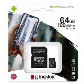 KINGSTON MICROSD 64GB (CLASE10 100 MB/S) CANVAS SELECT SDCS2/64GB C/ADAPTADOR + LPI*