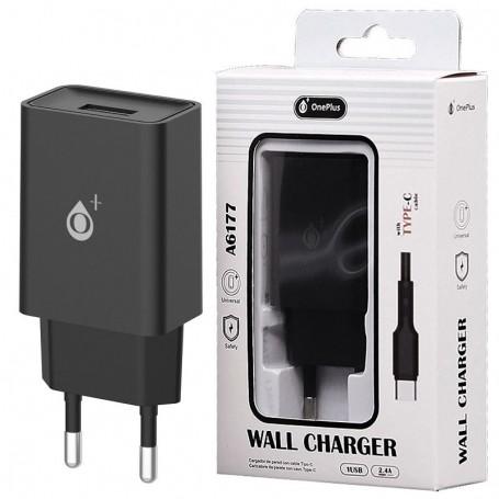 ONE+ CARGADOR A6177 WILSON  1 PTOS USB 2.4A CON CABLE USB TYPE C NEGRO