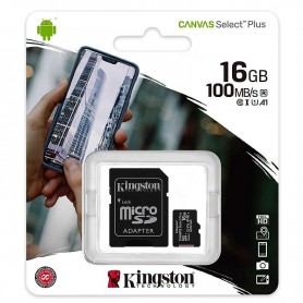 KINGSTON MICROSD 16GB (CLASE10 100 MB/S) CANVAS SELECT SDCS2/16GB C/ADAPTADOR + LPI*
