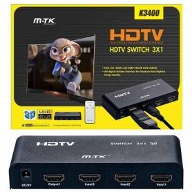 MTK SWITCH HDMI K3400 FULLHD 3 ENTRADAS 1 SALIDA + MANDO