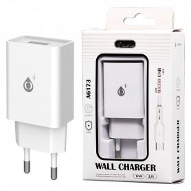 ONE+ CARGADOR A6173 WILSON  1 PTOS USB 2.4A CON CABLE MICROUSB BLANCO