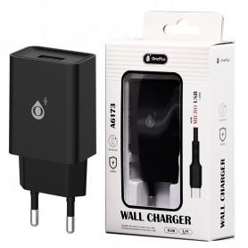 ONE+ CARGADOR A6173 WILSON  1 PTOS USB 2.4A CON CABLE MICROUSB NEGRO