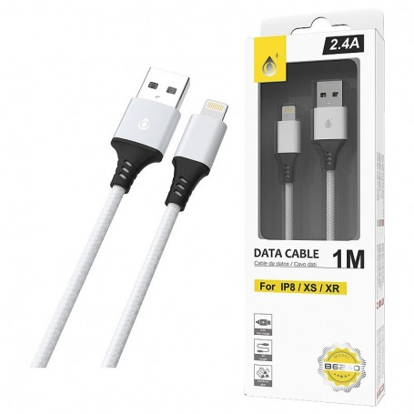 ONE+ CABLE USB LIGHTNING PARA IPHONE 6 / 7 /8 / XS / XR ALUMINIO B6240  S.BASIC GIOVA PLATA 1M