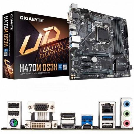 PLACA BASE GIGABYTE H470M DS3H S-1200 4DDR4 128GB HDMI DP DVI-D VGA GBLAN 5USB3.2 RAID 6SATA6 2M.2 MATX