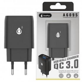ONE+ CARGADOR RAPIDO QC3.0 A6095 KANTO 1 PTO USB 3.1A (SIN CABLE) NEGRO