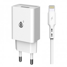 ONE+ CARGADOR A6175 WILSON  1 PTOS USB 2.4A CON CABLE LIGHTNING BLANCO