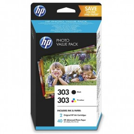 CARTUCHO HP PACK 303  PHOTO VALUE PACK (Z4B62EE) NEGRO + COLOR + PAPEL