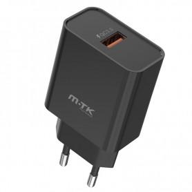 MTK CARGADOR TA0255 CARGA RAPIDA 1 PTOS USB 18W (SIN CABLE) NEGRO