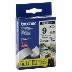CINTA ETIQUETADORA BROTHER TZE-FX221 9MM NEGRO SOBRE BLANCO