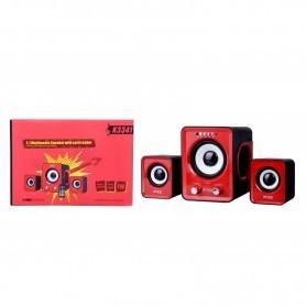 ALTAVOCES 2.1 MTK K3341 CON PUERTO USB / FM / MANDO A DISTANCIA 11WATT RMS COLOR RED