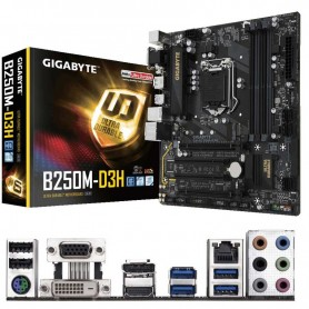 PLACA BASE GIGABYTE B250M-D3H S-1151 4DDR4 64GB VGA+DVI+HDMI+DP GBLAN 6USB3.1 6SATA3 M2 MATX